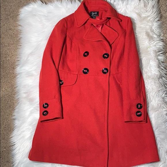 Forever 21 Jackets & Blazers - Forever 21 Red Orange Women's Pea Coat